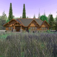 wooden craftsman country scene 3d c4d