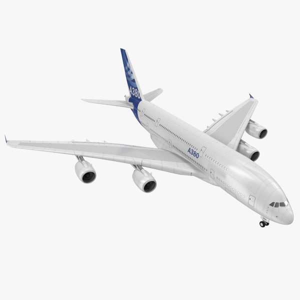 Jet Airliner Airbus A380 double deck double-deck passenger plane airplane airline vray