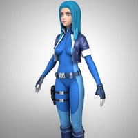 sci fi girl character 3d max