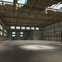 warehouse interior exterior scene 3d x