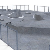 3d skate park concrete model