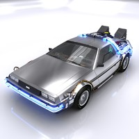 3d model of delorean time machine