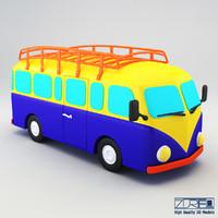 3d model retro bus