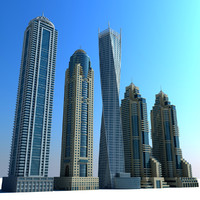 3d model dubai marina towers 03
