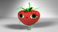 strawberry character rigged 3d model