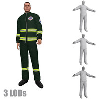 3ds max rigged paramedic 3 lod