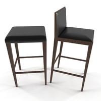 3d model wooden bar chair