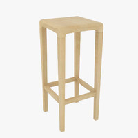 3d model wooden bar stool