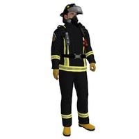 3d rigged fireman