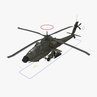 3d model ah64a apache helicopter green