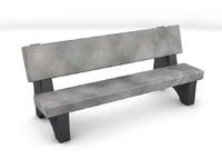 stone park bench c4d