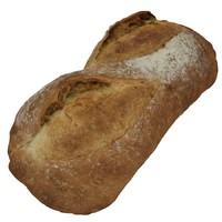 photorealistic white bloomer loaf 3d model