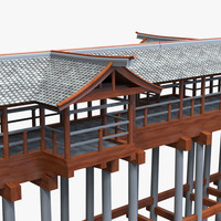 modular asian bridge 3d model