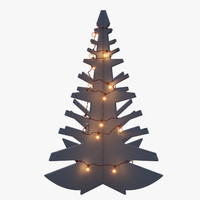 3d obj modern wooden tree