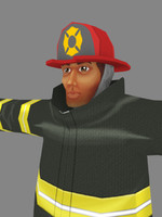 Low poly fire fighter