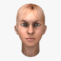 blonde female head obj