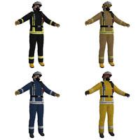 pack fireman 3d obj