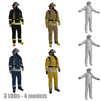 pack rigged fireman s 3d model