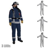 3d rigged fireman 3 s