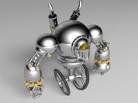 3d steampunk robot guard