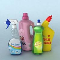 3d obj detergent bottles