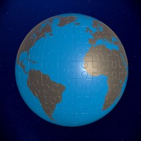 3d model puzzle earth globe