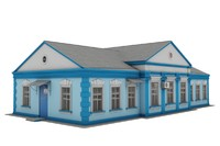 3d railway station administrative building model