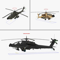 3d ah64a apache helicopter rigged