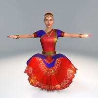 3d bharatanatyam dance female dancers model