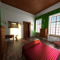 antique bedroom 3d model