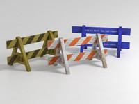 3 wooden barriers weathered 3d model