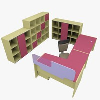 3d rack office table model