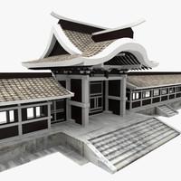 modular asian wall 3d fbx