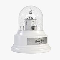 3d snowglobe chapel realistic