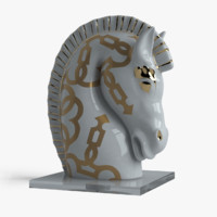 3d model porcelain horse head le