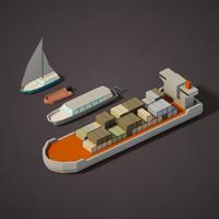 3d model cargo boats