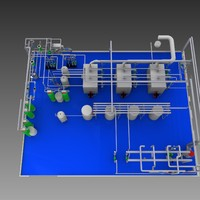 free boiler house main equipment 3d model