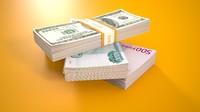 3d stack banknotes model