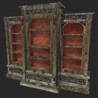 3d model of old bookcase