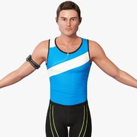 3d male athlete rigging model