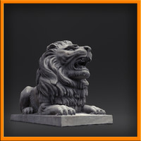 sculpture stone lion 3d obj