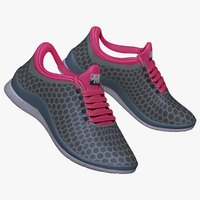 3d model pink gray sneaker