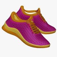 3d obj purple yellow sneaker