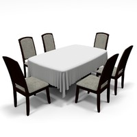 3d model dining set 2 table chairs