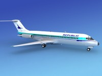 dc-9 commercial airliner 3d model