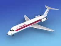 3d dc-9 commercial airliner model