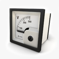 3d analog panel dc voltmeter model