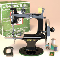 3d antique toy sewing machine