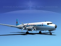 3d douglas dc-7c dc-7 flying