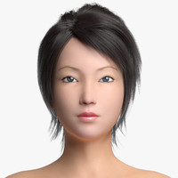 asian female 3d obj